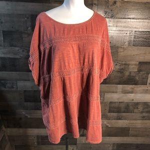 Sonoms Womens Top 3X Crochet Orange Red